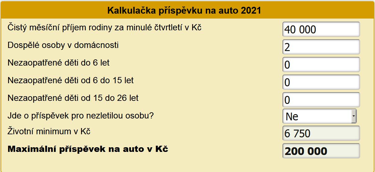 Příspěvek na auto 2021 kalkulačka