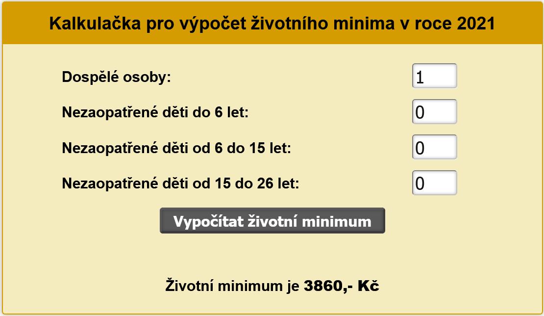 Kalkulačka životního minima