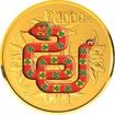 2.000 Yuan Zlatá kolorovaná mince Rok hada - 5  Oz PP