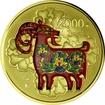 2.000 Yuan Zlatá kolorovaná mince Rok kozy 5 Oz PP
