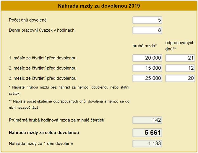 Náhrada mzdy za dovolenou 2019