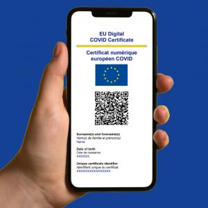 Digitální certifikát v online podobě na mobilu ©EC