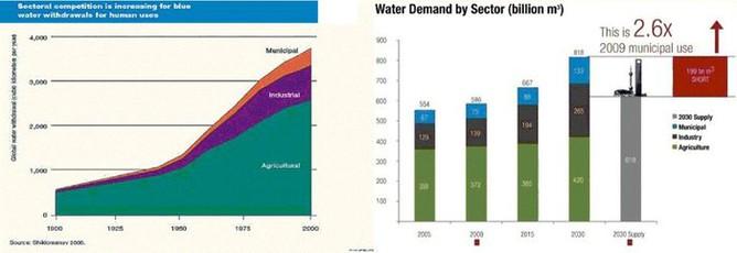 Světová poptávka po vodě podle sektorů